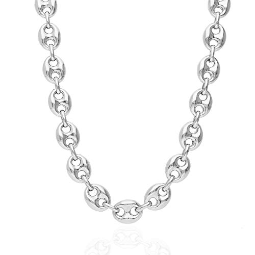 925 Sterling Silver 12mm Puffed Anchor Mariner Link Chain Necklace 24