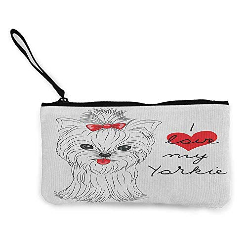 Canvas Print Wallet Yorkie,I Love My Yorkie Cute Terrier with its Tounge Out Adorable Yorkshire Terrier, Black White Red W8.5