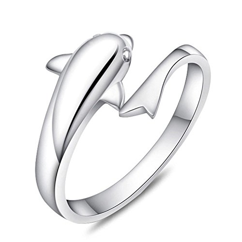Lavillede New Fashion Sterling Silver Double Dolphin Opening Adjustable Rings Gift New (O)