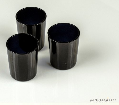 Candles4Less - Black Glass Votive Candle Holders (Set of 72) Perfect with 10 hour votive candles for any events (Candle Black Glass)