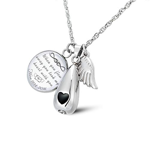 - Glimkis Glass Cabochon Pendant When You flew Away You Took My Heart You Urn Necklace Ashes Keepsake Locket
