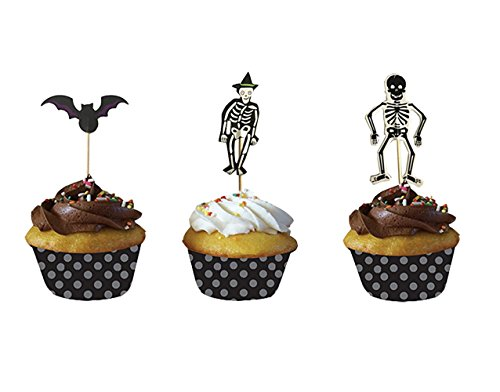 Halloween Cupcake Muffin Toppers Bat And Skeleton Design, 24 Pcs, Mixed Packaging by PARTYMASTER