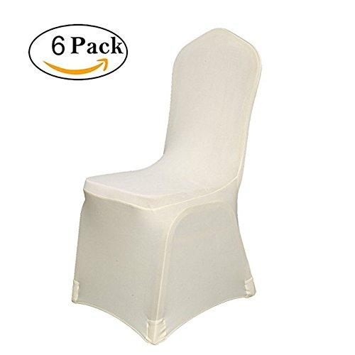 YooDaa Linen Spandex Banquet Chair Covers Slipcovers for Wedding Party Reception Decorations Beige (6 pcs)