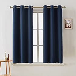 Deconovo Room Darkening Curtain Thermal Insulated Blackout Curtains for Kids Room Navy Blue 38 x 63 Inch 2 Panels