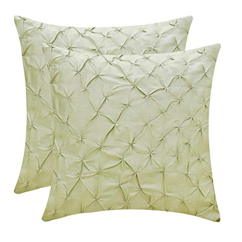 The White Petals Pale Green Throw Pillow Covers (Faux Silk, Pinch Pleat, 18x18 inch, Pack of 2)