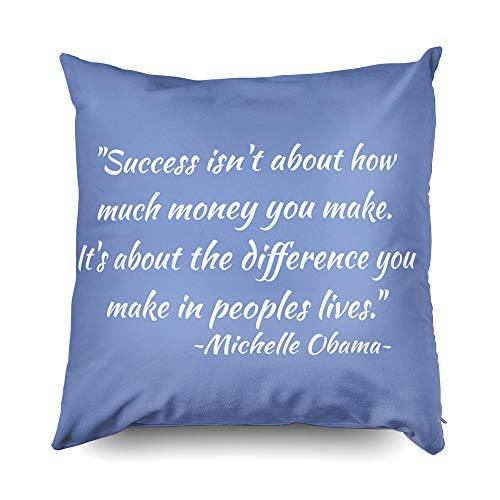 TOMWISH Hidden Zippered Pillowcase Michelle Obama Quote 16X16Inch,Decorative Throw Custom Cotton Pillow Case Cushion Cover for Home Sofas,bedrooms,Offices,and ()