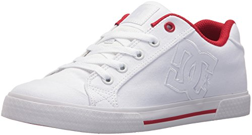 DC Women's Chelsea TX Skate Shoe, White/True red, 8 B US