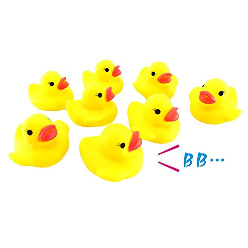 Children Toys,Dartphew 10Pcs Fashion Call Rubber Duck Ducky Duckie Baby Shower Birthday Favors,Great Gift for Kids Baby Children Girs Boys(Yellow,Size:4X4cm) ()
