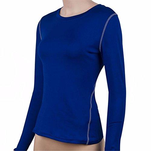 yoga femmes serres a manches longues ronde gymnase du cou sueur runing dessus de la couche de base t-shirt
