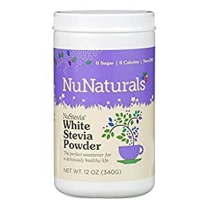 NuNaturals NuStevia White Stevia with Maltodextrin Powder,All-Purpose Sweetener,12 Ounce