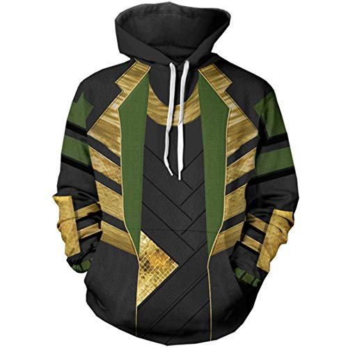 WKDFOREVER 3D Captain Fashion Cosplay Hoodie Jacket Costume (Large, Loki -