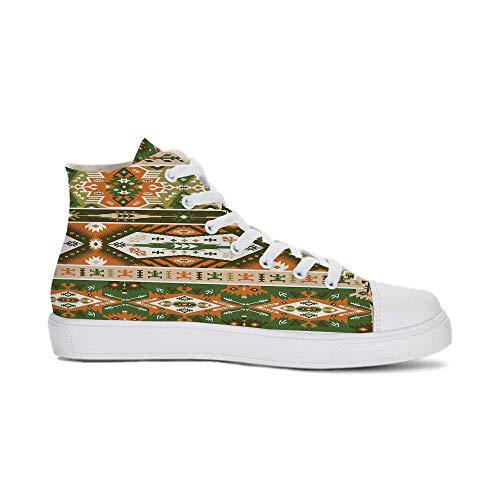 YOLIYANA Tribal Durable High Top Canvas Shoes,Vector Design with Tattoo Aztec Mayan Culture Style Stripes Shapes Print Decorative for Men,US 12