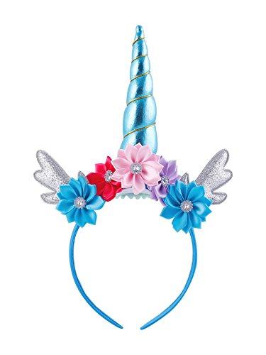 Unicorn Party Hair Band Hair Ornaments Animal Angle Headdress Children Flower Unicorn Headband (Blue)