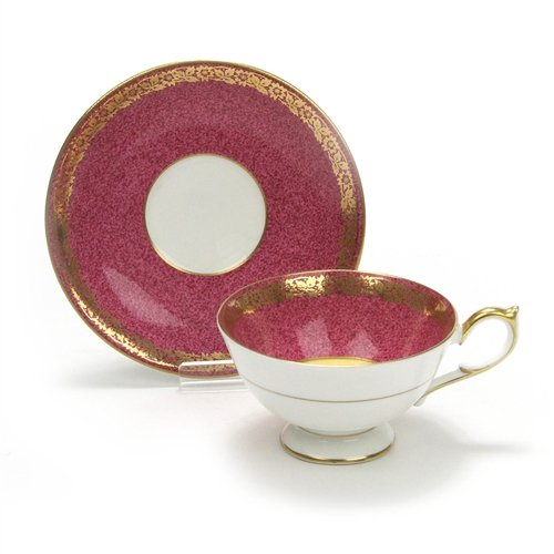 Cup & Saucer by Aynsley, China, Fruit, Pink