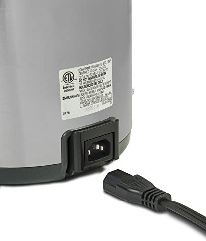 41IYzuWHu3L. AC Zojirushi CD-WHC40XH Micom Water Boiler & Warmer, 135 oz, Stainless Gray    Zojirushi Micom water boiler and warmer has a micro computerized temperature control system and a one-touch electric dispensing system. It has four keep warm temperature settings: 160, 175, 195, 208 degrees F. This unit displays actual water temperature at all times. It also has an energy saving timer function (6 - 10 hours) and easy-to-hear sound indicator to alert completion of boiling process or low water level. Quick temp mode heats the water directly to the selected keep warm temperature without reaching a boil. The water will reach the selected keep warm temperature quicker than regular mode. Other benefits include a swivel base for serving convenience and a detachable lid. The clear coated stainless steel body and new rust resistant stainless steel interior is easy-to-clean and all surfaces that come into contact with food or beverage is BPA-Free.