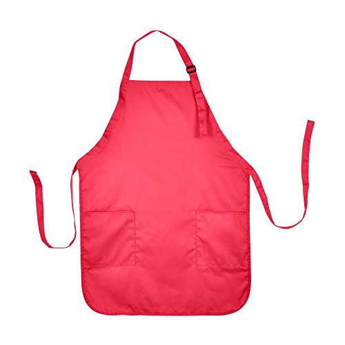 DALIX Apron Commercial Restaurant Home Bib Spun Poly Cotton Kitchen Aprons (2 Pockets) in Red