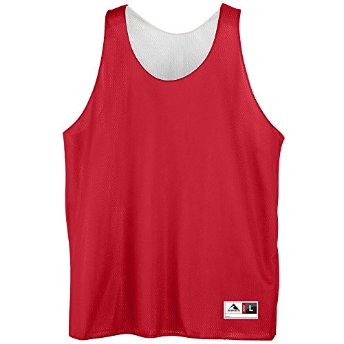 Youth Reversible Mini Mesh League Tank - RED WHITE SMALL by Augusta Sportswear