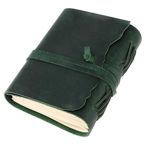Kevancho Leather Journal-Handmade Leather Bound with Vintage Paper-Refillable Travel Writing Diary Notebook Sketchbook for Men, Women-5x7 Inches (Green 3, 5 in7 in)