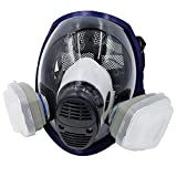 WiseLime Organic Full Face Respirator Mask for Chemicals, Smoke, Paint Spray and Tear Gas, Industrial Grade Quality Gas Mask including 2 Filters (Gas Mask + 1 Pair of #3 Filter Cartridges)