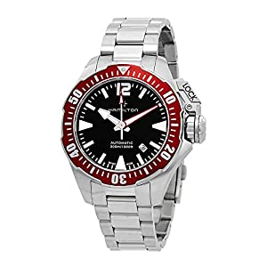 Hamilton Men's 42mm Steel Bracelet & Case S. Sapphire Automatic Black Dial Analog Watch H77725135