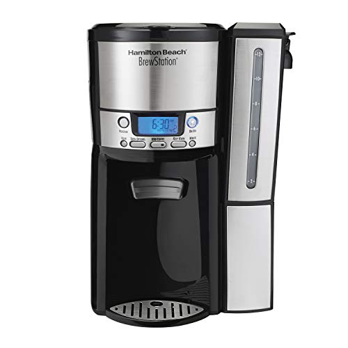 - Hamilton Beach (47950) Coffee Maker with 12 Cup Capacity & Internal Storage Coffee Pot, Brewstation, Black/Stainless Steel