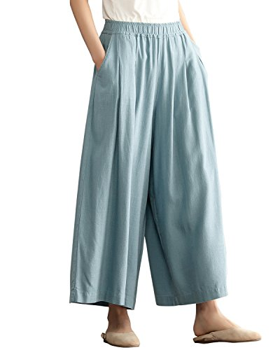 - Aeneontrue Women's Casual Wide Leg Pants with Elastic Waist Cotton Linen Pleated Palazzo Trousers with Pockets Light Blue