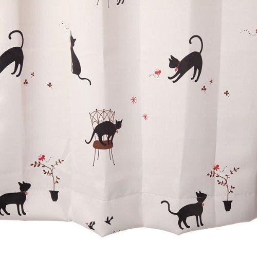 Amazon 猫柄カーテン 幅100cm×丈200cm2枚組 アイボリー 遮光カーテン カーテン オンライン通販