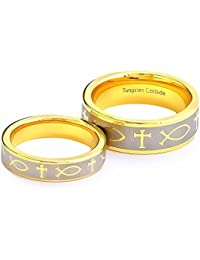 Tungsten His & Hers Engagement Wedding Band Ring Sets Celtic Fish & Cross