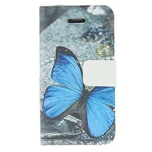 HC- Patrón Mariposa azul PU funda de piel del cuerpo para el iPhone 4/4S