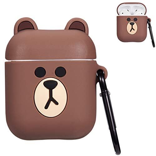 Mulafnxal Compatible with Airpods 1&2 Case,Cute 3D Funny Cartoon Character Silicone Airpod Cover,Kawaii Fun Cool Catalyst Design Skin,Fashion Brown Cases for Girls Kids Teens Boys Air pods(Brown Bear