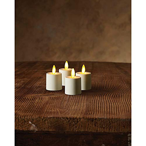 Luminara Tea Lights Battery Operated Flameless Candles White: 4 Piece Set - 1.44 x 1.25 w/Auto-Timer   Batteries Included   Lantern, Patio, Bath, Wedding, Reception, Bridal, Baby, Catering, Events