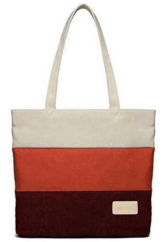 ArcEnCiel Women's Canvas Shoulder Hand Bag Tote Bag (Red&Maroon) ()