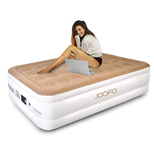 JOOFO Upgraded Comfort Luxury Twin Size Inflatable Air Bed, Air Mattress with Internal Electric Pump and Carry Bag(Twin Size)