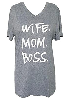 Women Loose Plus Size Letters Print Wife Mom Boss Funny T Shirt Casual Top Tees