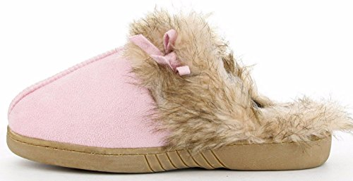 CR Nina Women Faux Fur Suede Warm Cozy Slip On Slide Scuff Flat Slippers Shoes Pink Pink 1c5mC5V
