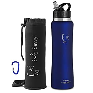 Swig Savvy Stainless Steel Insulated Leak Proof Flip Top Straw Cap Water Bottles with Pouch & Clip, Blue, 32oz