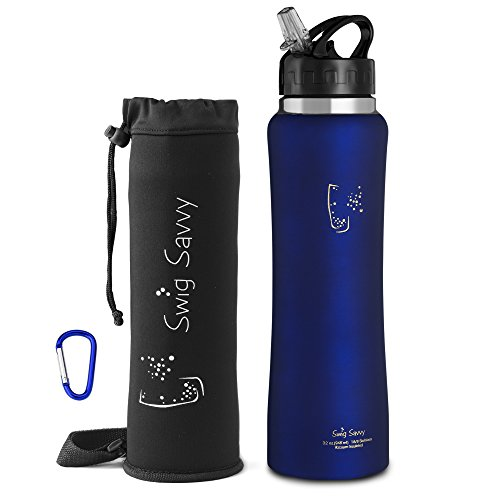Swig Savvy's Stainless Steel Insulated Water Bottle Wide Mouth 24oz / 32oz Double Wall Design with Straw Flip Cap - Great For Kids - Sweat Proof - Including Water Bottles - Camping Go When Do You Need What You