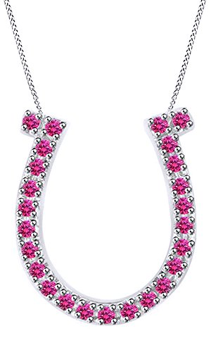 (Jewel Zone US 0.23 Ct Simulated Pink Sapphire Horseshoe Pendant Necklace in14k White Gold Over Sterling Silver)