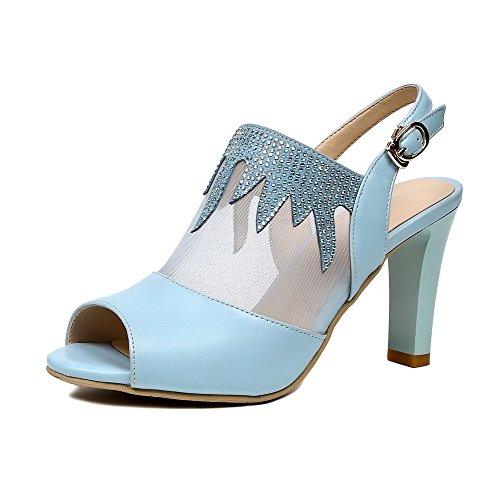 Amoonyfashion Donna Materiali In Misto Solido Tacchi Aperti Sandali Con Fibbia Blu
