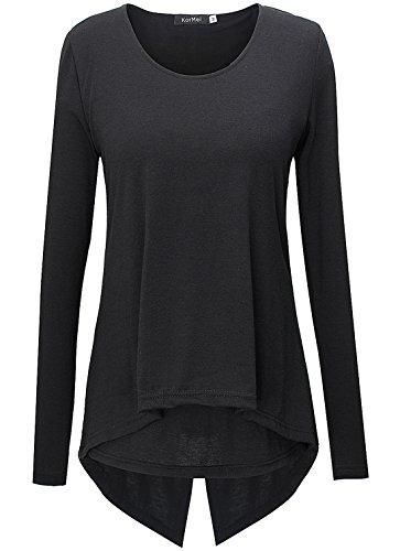 KorMei - Camiseta de manga larga - Asimétrico - Básico - Cuello redondo - Manga Larga - para mujer negro