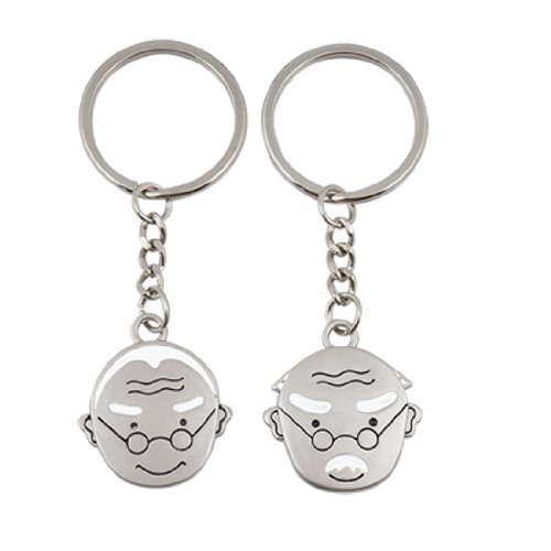 Grandpa Grandma Head Pendant Metal Keyring for Lovers