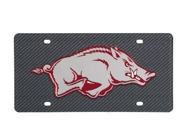 as Razorbacks Carbon Fiber Looking Acrylic Inlaid License Plate ()