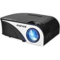 Andyer 805B-Plus Portable Projector LED Mini Projector Support HD 1080P 1500 Luminous Efficiency 150 for Movie Night/Game,Support Blu-ray DVD player,Laptops,Tablets,Smartphones