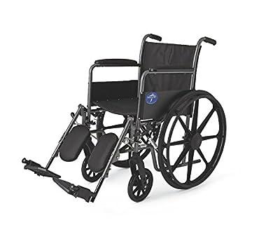 """Medline K1 Basic Wheelchair, 18"""" Wide, Desk-Length Arms, Elevating Legrests"""