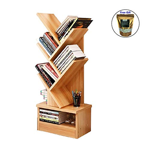 Eight24hours Bookcase Shelf Stand Display Cases Bookshelf Shelving Wood Shelves Tree Shape 5 Tier