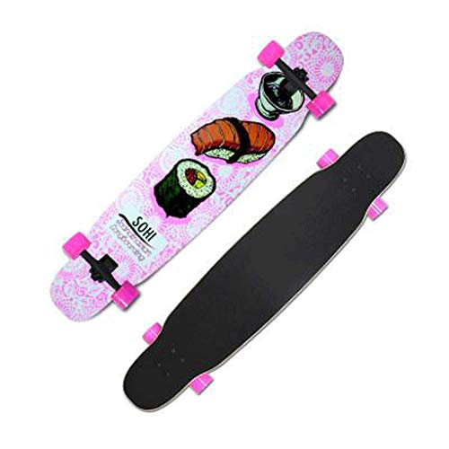 JLZS-skateboard Longboard Adult Boys and Girls Youth Street Travel Four-Wheeled Dance Board Bilateral Sloping Board (Color : Pink Sushi) - Maple Sushi Board
