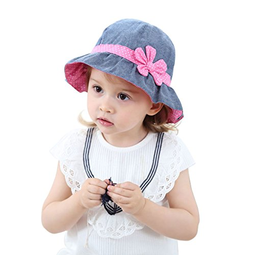 HUIXIANG Baby Girl Sun Hat Infant Toddler Foldable Wide Brim Denim Cotton Hat Summer Cap with Chin Strap -