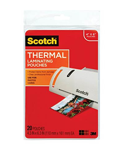 - Scotch Thermal Laminating Pouches, 4.37 Inches x 6.36 Inches, 20 Pouches (TP5900-20)