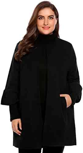 3f1411dc992 Plus Size Women Trumpet 3 4 Sleeve Outerwear Tops Winter Jacket Coat Casual  Cardigan
