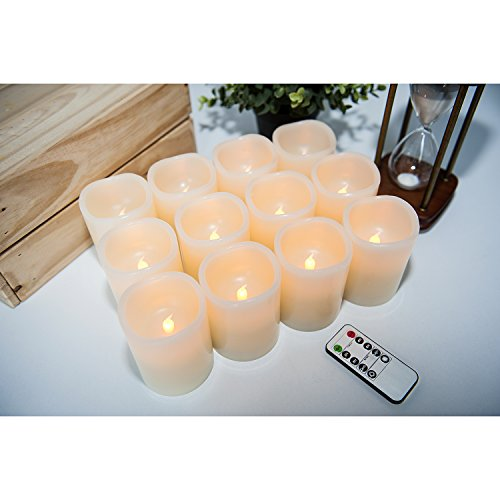 Hausware Flameless Candles LED Candles Set of 12 (D:3'' X H:4'') Battery Operated Candles Flickering Bulb Pillar Ivory Real Wax Electric Candles with Remote and Timer for Home Decoration … by Hausware (Image #4)